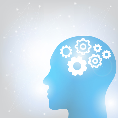Human head and brain. Different kind of waveforms produced by brain activity shown on background. Vector illustration Illustration