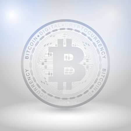 Silver bit coin digital currency, futuristic digital money, technology worldwide network concept, vector illustration