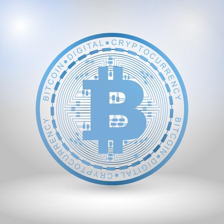 Blue bit coin digital currency, futuristic digital money, technology worldwide network concept, vector illustration