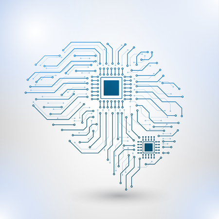 Artificial intelligence concept. Dot circuit board brain logo icon, high tech style, Technology Low Poly Design of Human Brain with Binary Digits. Symbol of Wisdom point Illustration