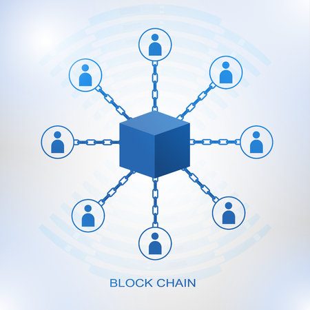 Blockchain technology concept. Cubic nodes connected by chain. Isometric vector illustration of distributed database for cryptography, virtual money, secure e-business or web security. Illustration