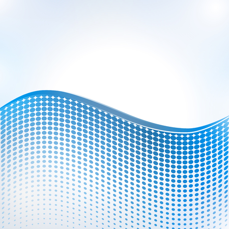 Abstract halftone wave in blue pattern dot background texture, vector illustration