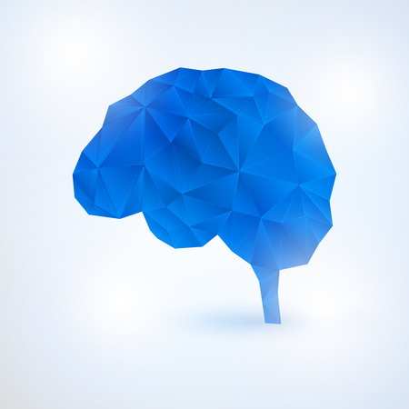 Low Poly Design of Human Brain in blue.