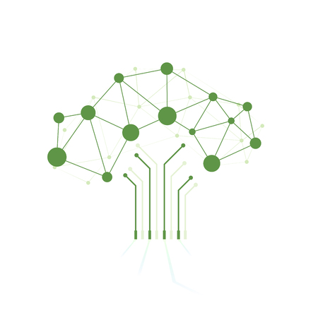 Digital tree made of circuits, conceptual illustration, Abstract background Stock Illustratie