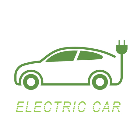 Electric car and Electrical charging station symbol icon, Vector illustration Çizim