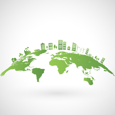Green city on earth, World ecology concept, vector illustration