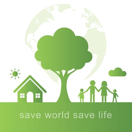 Green Eco concept background.Eco life in green city with save the world concept design.Vector illustration