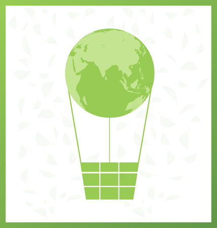 Green Globe balloon and leaf design on white background, Vector illustration