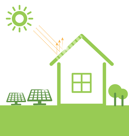 Illustration environmentally friendly. Green house and solar panels ,isolated on a white background. 일러스트
