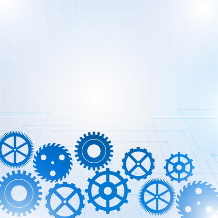 Blue gears on color background, Vector illustration