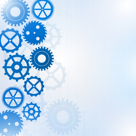 Blue gears on light background, Vector illustration