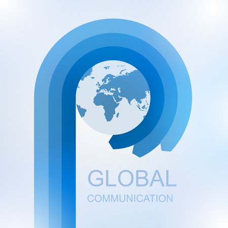 Global communication with Arrow in circle around world, Vector illustration 矢量图像