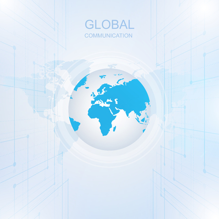 Global communication with Digital Technology around the world, Vector illustration 矢量图像