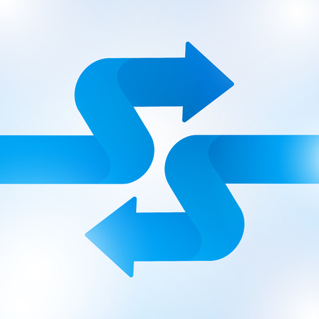 Abstract blue arrow sign growth to technology background, vector illustration.