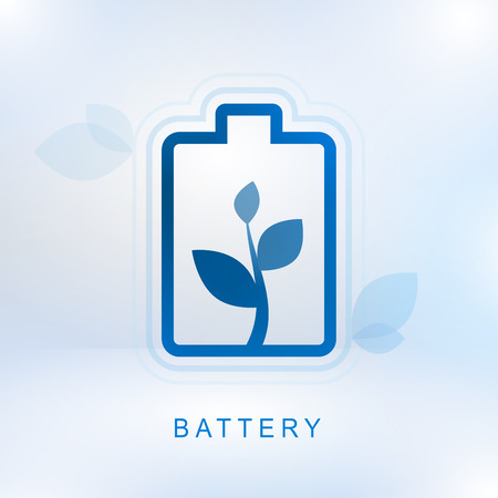 Clean energy concept with battery and growth plant on white background, ecology concept, vector illustration.