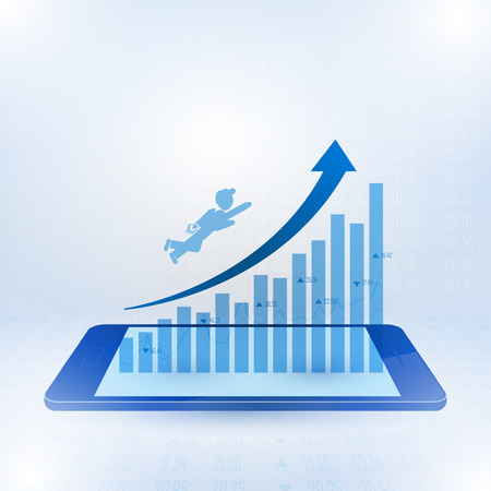 Businessman flying toward the top of business graph on smart phone, Vector illustration 일러스트