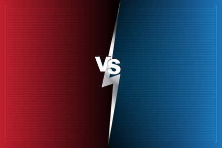 Abstract Background versus screen Red and blue VS letters. Vector illustration