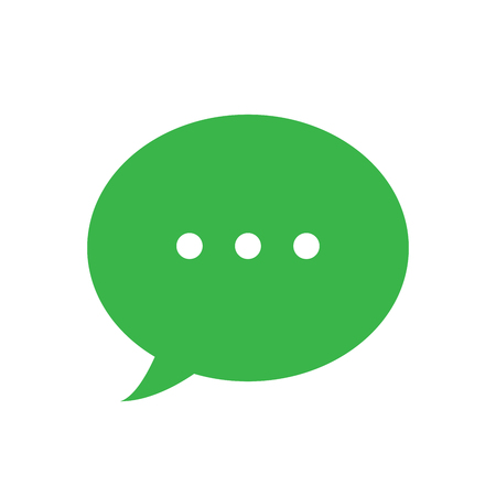 Text message vector icon, green speech bubble symbol, simple flat vector illustration for web site or mobile app Illustration