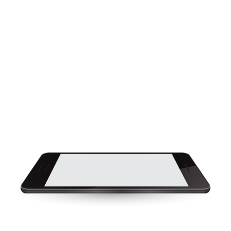 Modern realistic smartphone with blank screen and shadows on white background. Mobile Phone perspective view, Vector illustration