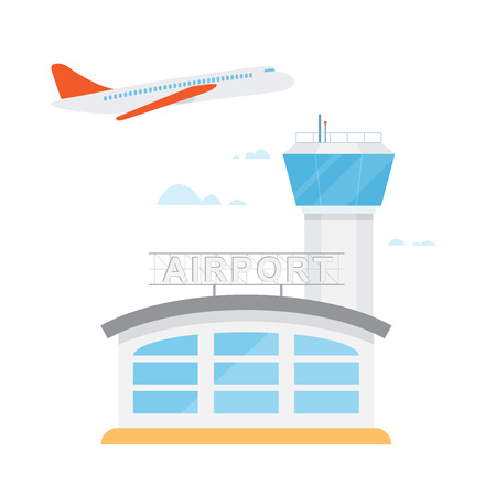 Airport control tower and flying civil airplane after take off. illustration in flat design