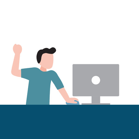 Happy People Spending Their Time Using Computer Modern Technology, Vector Illustration 일러스트
