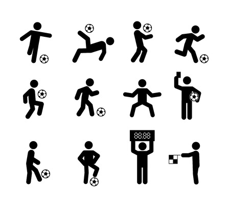 Football Soccer Player Actions Poses Stick Figure Icon Symbol Sign, Vector illustration 일러스트