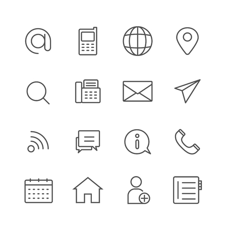 Simple Set of Contact us vector thin line icons, Editable Stroke linear symbols 일러스트