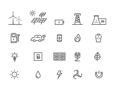 Simple Set by power source of energy vector thin line icons, Editable Stroke 일러스트
