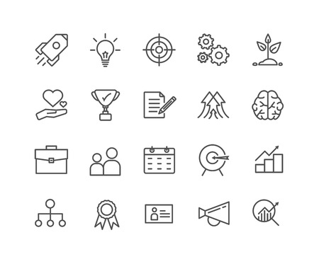 Simple Set of Start up vector thin line icons, Editable Stroke linear symbols 일러스트