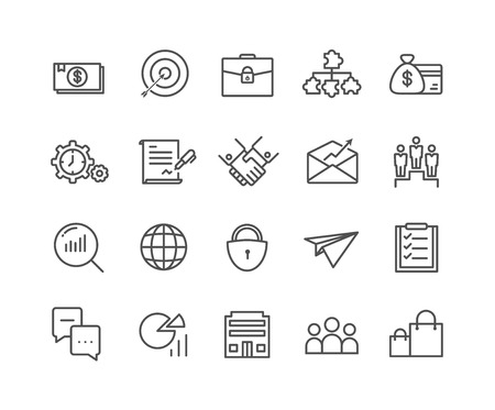 Simple Set of Business vector thin line icons, Editable Stroke linear symbols 일러스트
