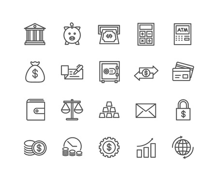 Simple Set of Money and Bank vector thin line icons, Editable Stroke linear symbols