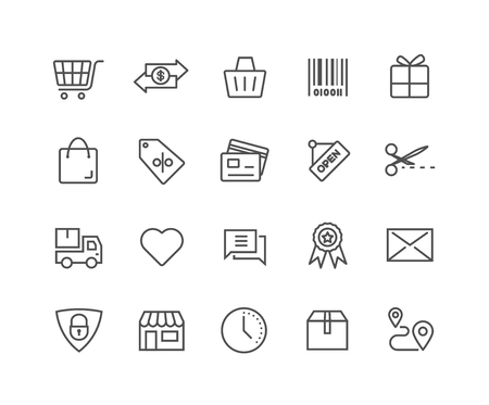 Simple Set of Shopping Online vector thin line icons, Editable Stroke linear symbols