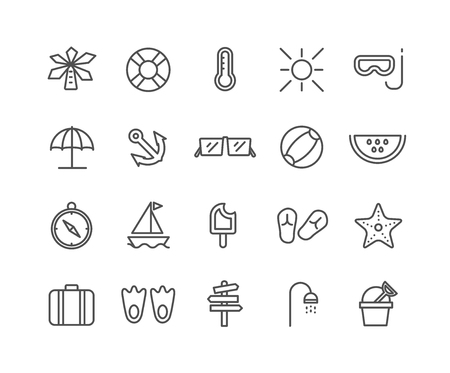 Simple Set of Summer vector thin line icons, Editable Stroke linear symbols Illustration