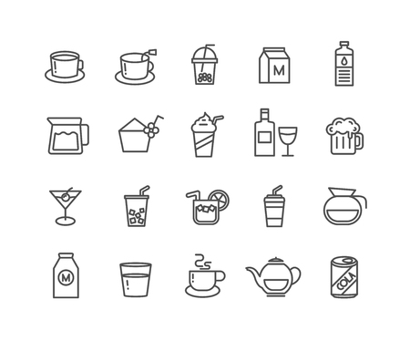 Simple Set of beverage vector thin line icons, Editable Stroke linear symbols