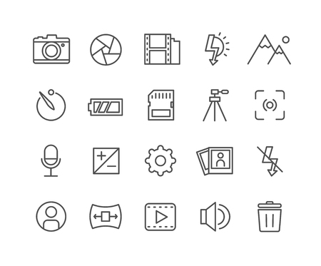 Simple Set of Camera vector thin line icons, Editable Stroke linear symbols
