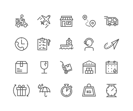 Simple Set of Delivery vector thin line icons, Editable Stroke linear symbols 일러스트