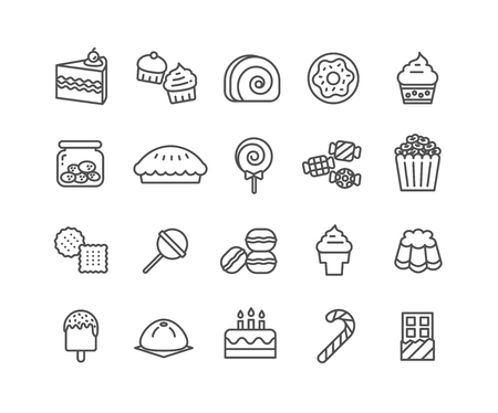 Simple Set of Dessert vector thin line icons, Editable Stroke linear symbols