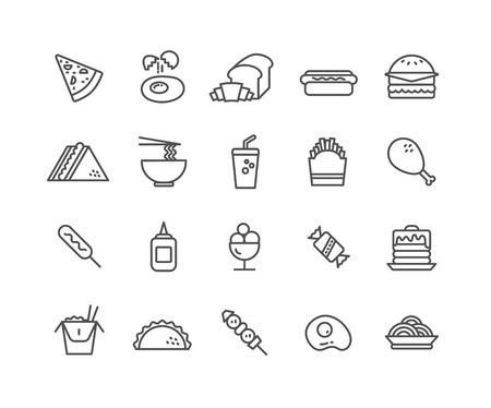 Simple Set of Fast food vector thin line icons, Editable Stroke linear symbols 일러스트