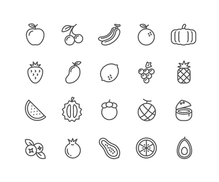 Simple Set of Fruits vector thin line icons, Editable Stroke linear symbols
