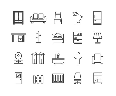 Simple Set of Furniture vector thin line icons, Editable Stroke linear symbols