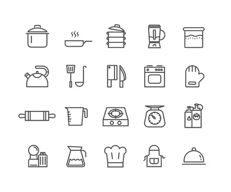 Simple Set of Kitchen tools vector thin line icons, Editable Stroke linear symbols