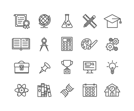 Simple Set of Education vector thin line icons, Editable Stroke linear symbols 일러스트
