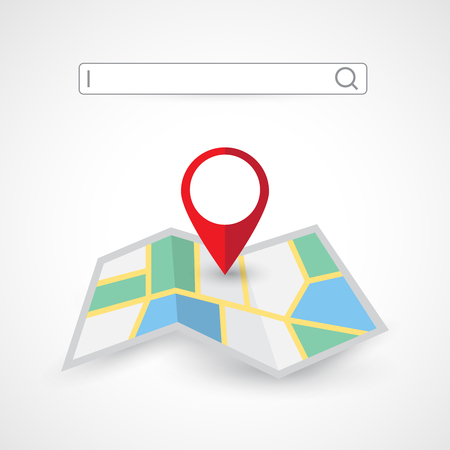 Location search folded map navigation with red color point markers design background, vector illustration