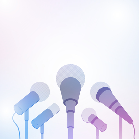 Microphones for press conference or interview on white background, Vector illustrator 일러스트