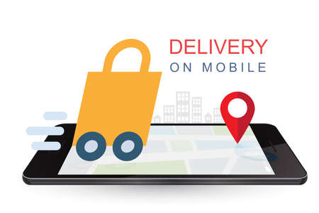 Delivery on mobile. Online shopping concept. Online order infographic.