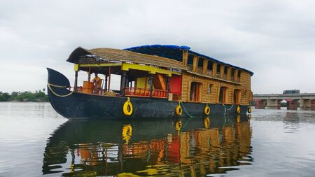 Travel Tourism House Boat in Backwaters of Pondicherry, India Stockfoto