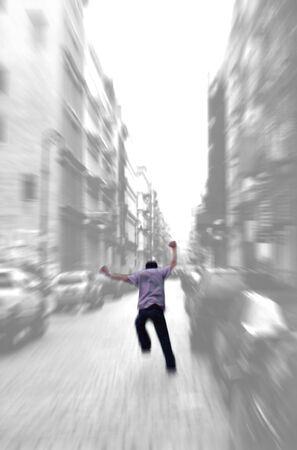 Running away - zoom blur background - isolated figure photo