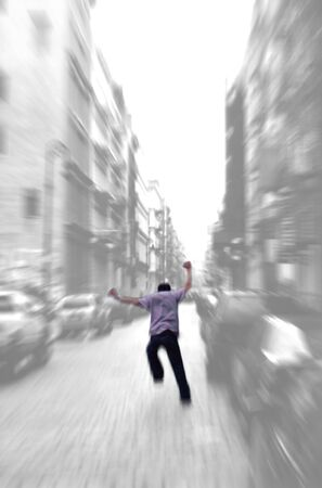 lunatic: Running away - zoom blur background - isolated figure
