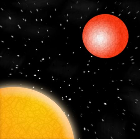 the sun and a red planet in outer space photo