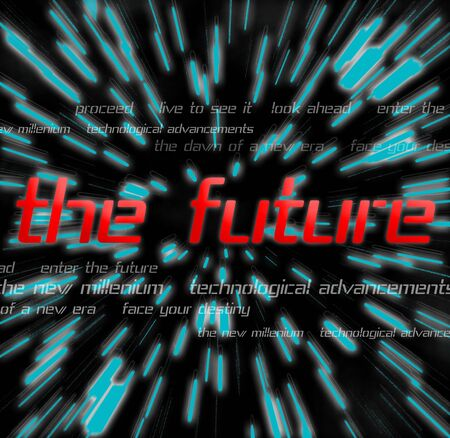 themed: A montage themed around the future Stock Photo